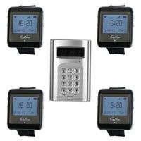 Беспроводной coaster пейджер систему вызова отель официант ресторан и 1 клавиатура передатчик + 4 часы приемник пейджер