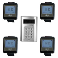 Wireless Coaster Pager Calling System Hotel Waiter Restaurant & 1 Keyboard Transmitter + 4 Watch Receiver Pager