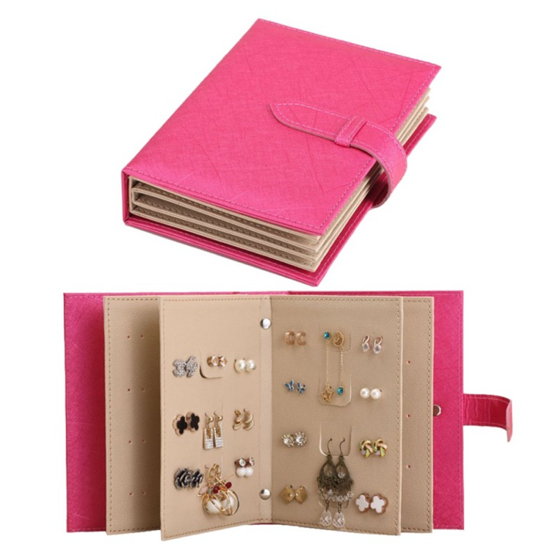 2018 Pu Leather Stud Earrings Collection Jewelry Book Portable Jewelry Page Jewel Display Creative Jewelry Storage Box ...