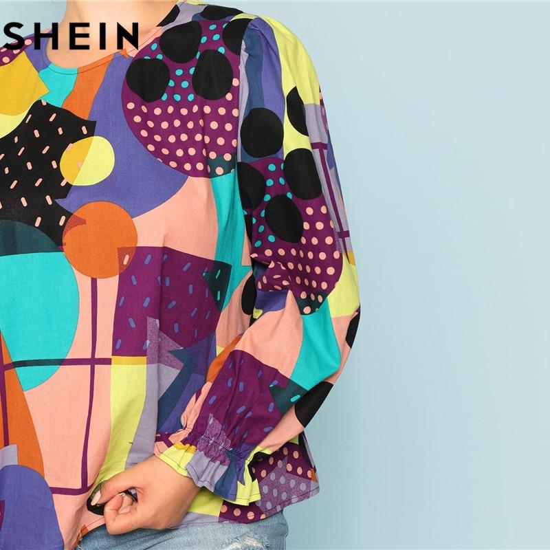 SHEIN Cotton Linen Multicolor Geometric Print Preppy Plus Size Women Blouses 2018 Fashion Long Raglan Sleeve Ruffle Cuff Top  3