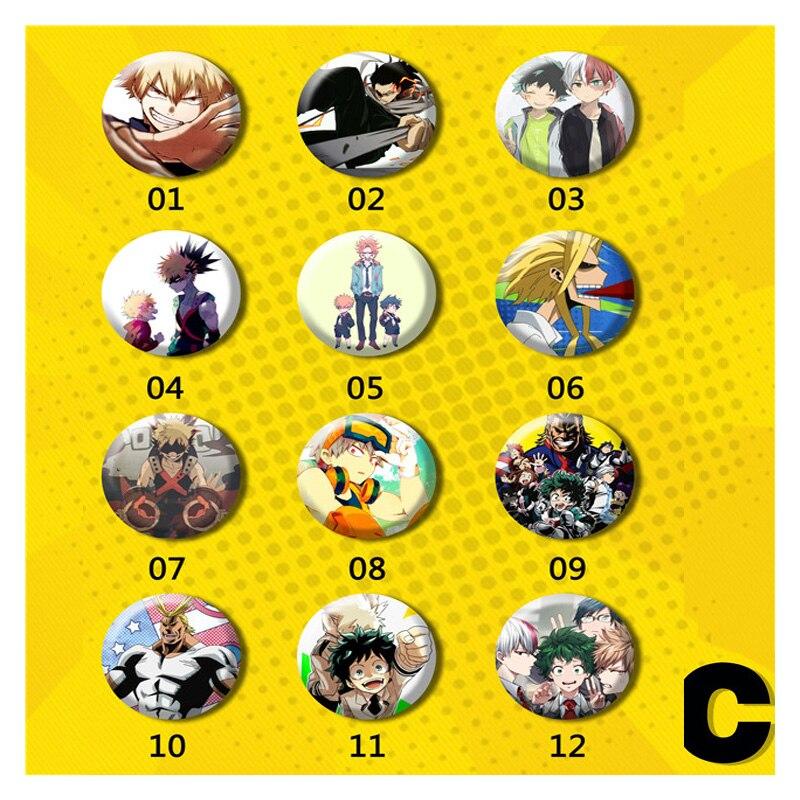 6pcs/12pcs set My Hero Academia Boku no Hero Academia Izuku Full Members Brooch Badge Pins Bag Animation Badge Brooches