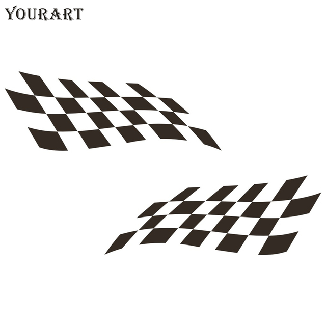 Us 2 0 33 Off Yourart Sport Racing Flag Stickers For Cars Rearview Mirrors Checkered Flag Vinyl Decal Sticker Car Decoration For Ford Focus Vw In