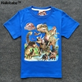 Mundo Jurássico 3Y-9Y 100% Algodão Verão MENINOS T-shirt Crianças t-Shirt do Menino Tshirt Dinossauro Encabeça Roupas Infantis Menino Dos Desenhos Animados