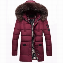 Hot Sales Men's Long Overcoat Popular Asian Size Hooded Warm Comfortable Coat Solid Color Warm Long Male Winter Jacket Plus Size