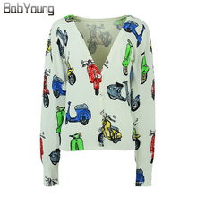 BabYoung 2016 Autumn Women Cardigans Cartoon Cute printing Sweater Lovely Christmas Sweater Cashmere Sweater Women Pull Femme