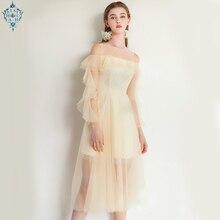 Ameision fashion Boat Neck Zipper Back Long Sleeves Ruffles Tea-Length Evening Dresses Shampagne Formal Dress Longo