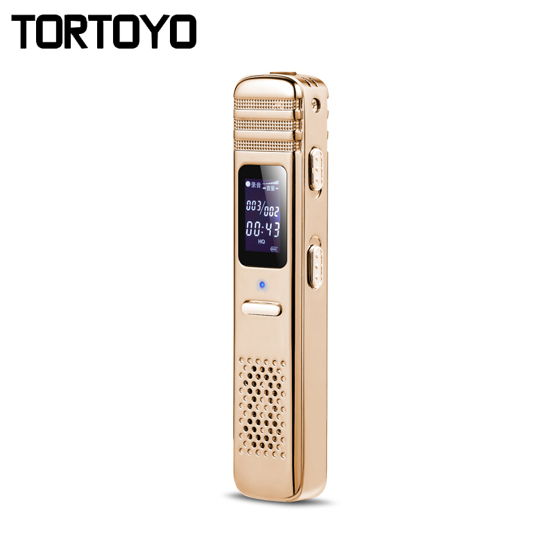 8GB Mini Gold Professional Portable Digital Audio Recorder Voice Sound Recording Pen For Meeting Justice Study with LCD Display