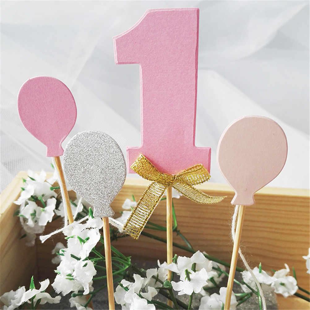 Niño niña soy un año Oro 1 aniversario papel suministros Primer Cumpleaños Cupcake Toppers 1ª fiesta decoraciones