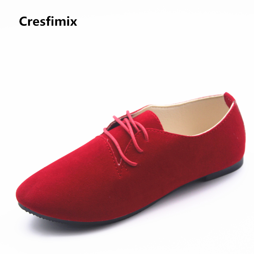 Cresfimix zapatos de mujer women cute spring & summer flat shoes lady cute lace up red flats female casual comfortable shoes casual shoes women office ladies shoes lady cute bow tie pointed toe flats female cute spring