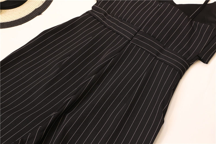 Summer Stripe Camisole Jumpsuit Women V-neck Striped Sexy High Waist Wide Leg Pants Office Ladies Red Black Overall Bodysuit 86