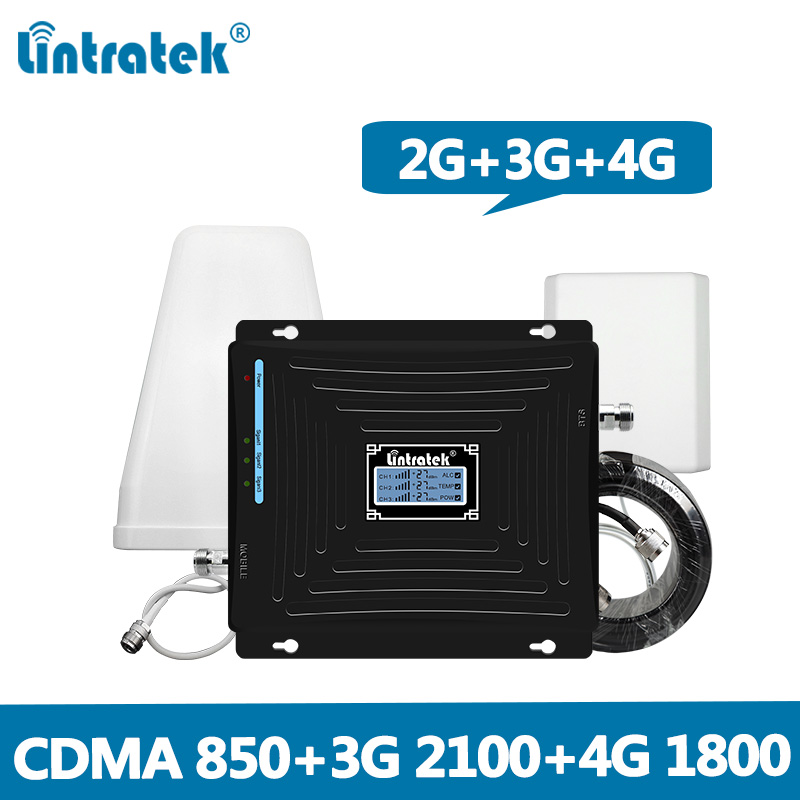Lintratek Signal Booster 2G 3G 4G Repeater 850Mhz 2G 3G 2100Mhz 4G LTE 1800Mhz Repeater 850 1800 2100 CDMA WCDMA DCS Full Kit @6