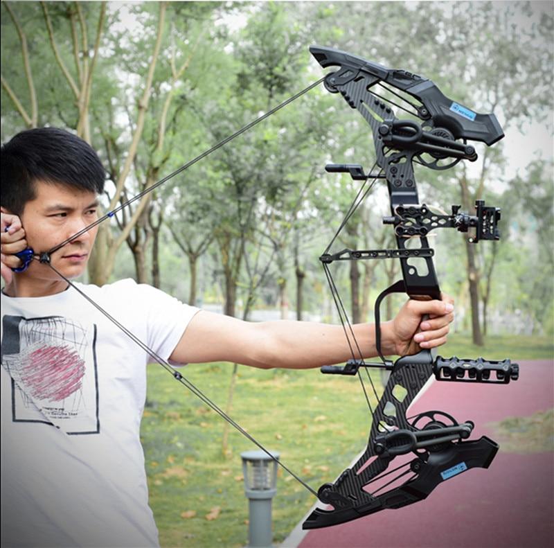 2019 nouveau tir à l'arc composé tir à l'arc en acier balle double usage grande puissance en plein air chasse arbre stand chasse tir à l'arc 32 pouces 40-60LBS