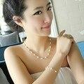 O Envio gratuito de moda colar e pulseira conjunto de Jóias Banhado A Ouro branco Imitação de Pérolas de Cristal por atacado para as mulheres presente