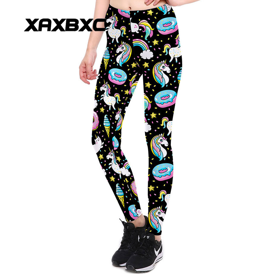 270149face7489 XAXBXC 3905 New Sexy Girl Pencil Pants Rainbow Unicorn Donut Pony Printed  Elastic Slim Fitness Workout