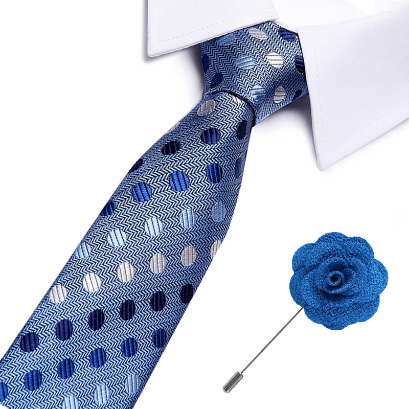 New Fashion Arrival Men 39 s Ties For Men Blue Ties Set Woven Neck Tie brooch Set For Wedding Party Business in Men 39 s Ties amp Handkerchiefs from Apparel Accessories