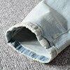 Sokotoo Men's patchwork bandanna paisley printed biker jeans Light blue holes ripped skinny stretch denim pants Trousers 37