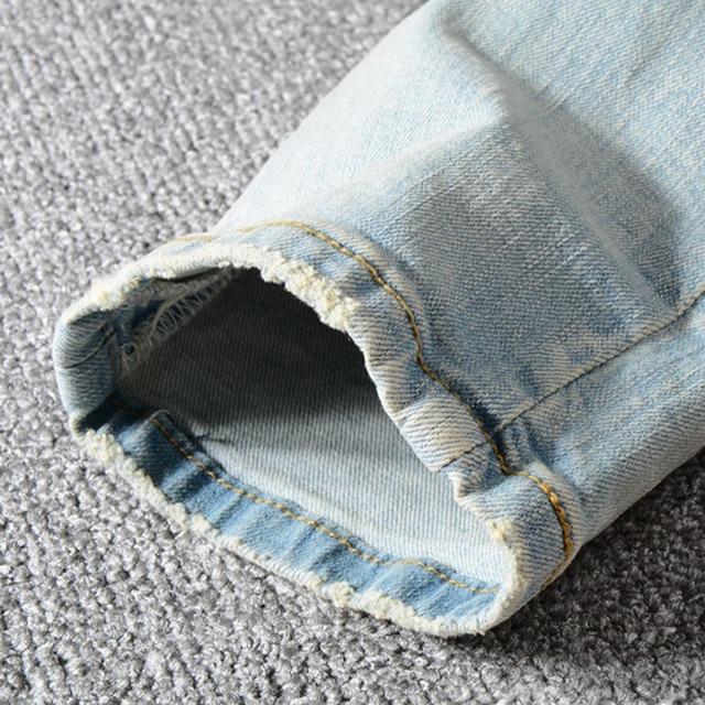 Sokotoo Men's patchwork bandanna paisley printed biker jeans Light blue holes ripped skinny stretch denim pants Trousers 31