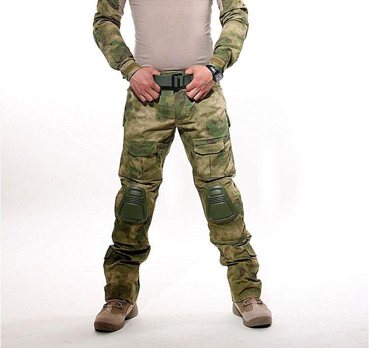 2019 hommes Camouflage militaire pantalon tactique armée camo cargo pantalon hommes baggy Multi poches pantalon avec genouillères 051310