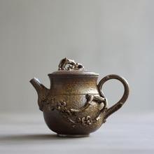 PINNY 220ml Handmade Plum Teapot Kiln Ceramic Tea Pot Retro Chinese Kung Fu Teapots Traditional Chinese Drinkware Tea Kettle