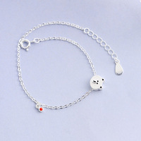 925 Silver Fashion Cute Little Mengxiong Dijiao Vinyl Bracelet Fresh and Simple Jewelry for Women Fashion Gifts