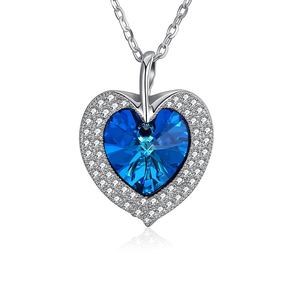 LEKANI Crystals from Swarovski Element Blue Beads Heart Pendant Necklace Jewelry 925 Sterling Silver Necklace for Women stylish rhinestoned heart faux crystals beads tassel pendant necklace for women
