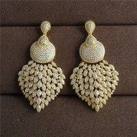 Wuge Schmuck Luxus antiken Zirkonia Micro Pave Einstellung Mode clusher großen Ohrring für Frauen