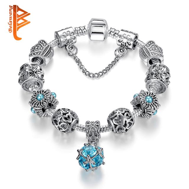 Fashion Silver Color Glass Charm Bracelets Bangles For Women Vintage Blue Crystal Ball Beads Bracelet Female Jewelry