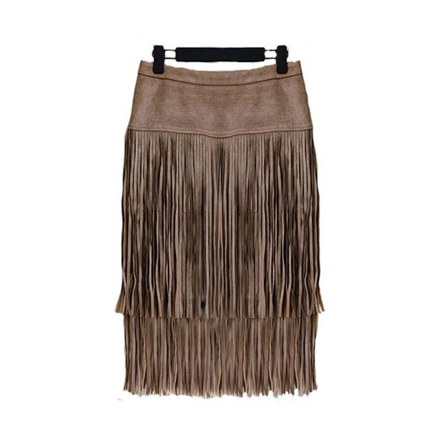 New arrive 2015 fashion women skirts Putting the Victorian fashion heavy industry level tassel wool leather skirts 1506
