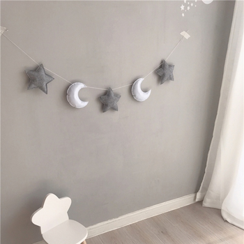 Nordic Nursery Kid Room Hanging Wall Decoration Monn Star String Felt Fabric Garland Party Banner Tent Bed Mat Hanging Decor