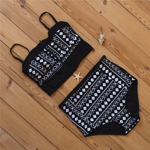 Sexy Micro Bikinis Women Bikini 2017 Swimsuit High Waist Bathing Suit Push Up Swimming Suit Beach Swimwear Set Print Black