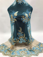 New African lace fabric, beautiful sky blue and gold 3d flower beaded embroidery designs , Nigerian tulle lace fabric z9 22p