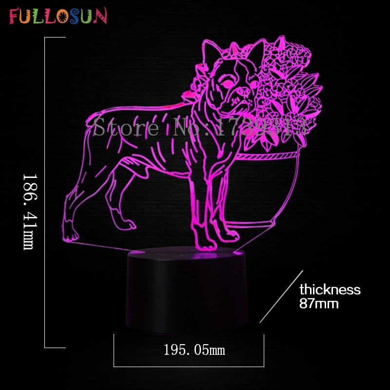 Lampa stołowa LED 3D Dog Lampki nocne USB 7 kolorów 3D Illusion - Lampki nocne - Zdjęcie 3