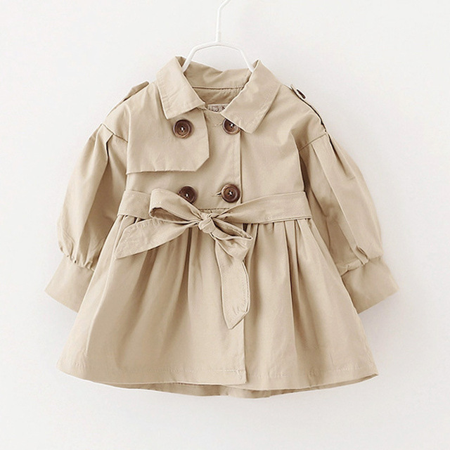 2017 British Style Girls Trench Coat Girls Jacket Clothes Windbreaker Outerwear Anti-wrinkle Baby Girls Overcoat Fashion Sale