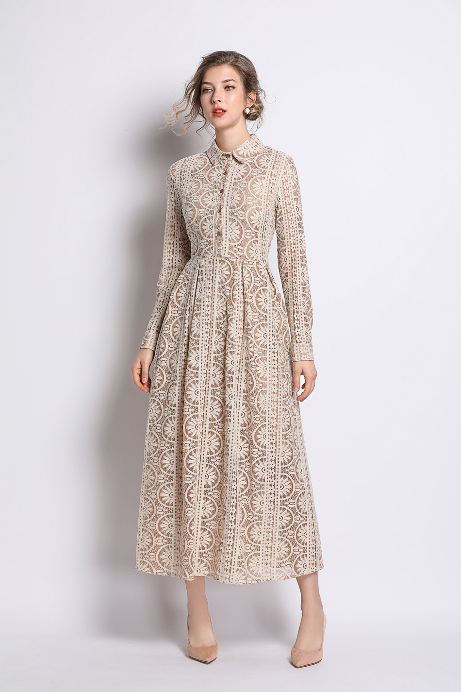 Long Summer Khaki Hollow Out Lace Dress 2