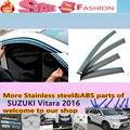 Alta Calidad 4 unids para SUZUK1 Vitara 2016 diseño de la carrocería del coche cubierta de la lámpara de cristal de la Ventana de plástico Palo de Viento Del Visera Lluvia/Sol Guardia Vent