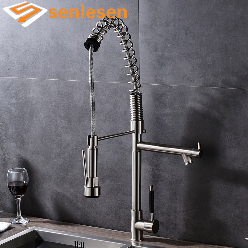Wholesale and Retail Brushed Nickel Kitchen Spring Mixer Faucet with Single Handle Hole wholesale and retail kitchen faucet chrome finish brushed nickel deck mounted with hole cover plate