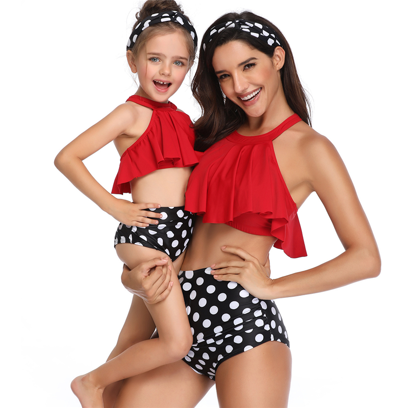 New Family Match Swimwear Mother And Daughter Lady Girls Swimsuit Women's Bathing Bikini Swimsuit For Women Girls With Headband