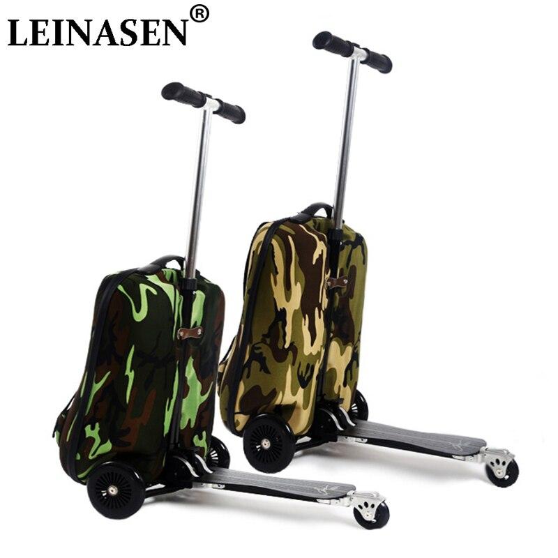 LEGAL 20 polegadas camuflagem menino scooter homens mala trolley estudantes mochila de extrusão caixa de Embarque de bagagem Viagens de negócios