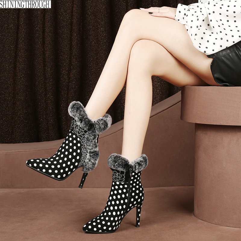 Women Ankle snow Boots Plus Size 34-43 crystal High Heels Shoes Woman polka dot Pointed Toe Sexy dress Boots For Females