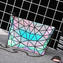 купить HOT Fashion Luminous Bag Women Geometry Diamond Tote Quilted Shoulder Bags Laser Plain Folding Handbags Hologram Women Bag по цене 957.63 рублей