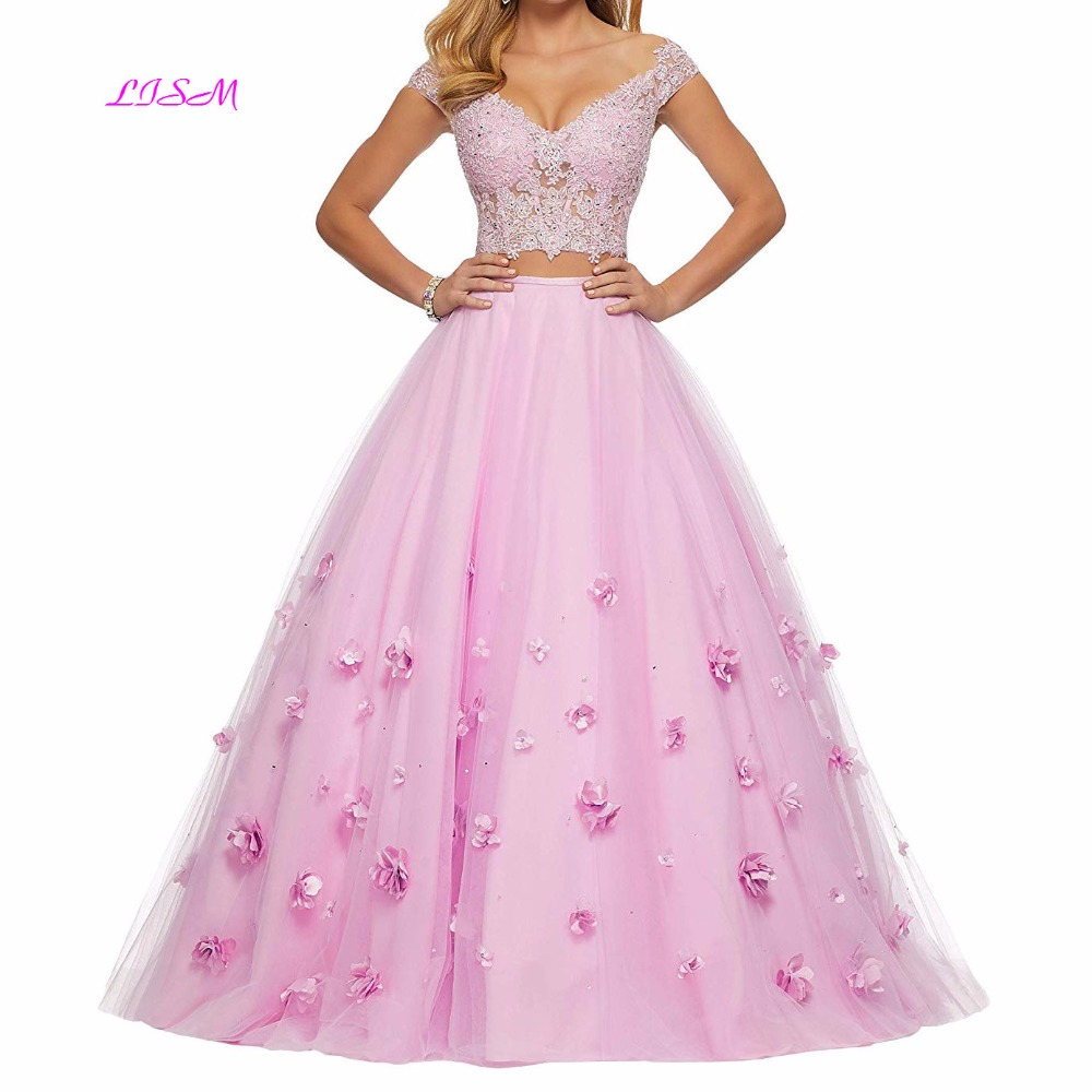 Sweet Girl Two Pieces   Prom     Dresses   2019 V Neck Cap Sleeves Lace Tulle Evening Party Gowns 3D Flowers Beaded Junior Formal   Dress