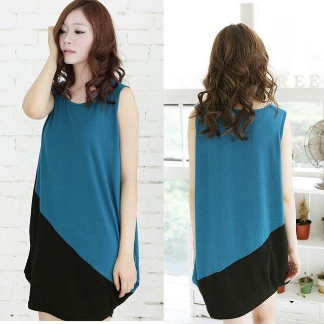Plus size clothing skirt for fat girls 2012 summer color block decoration sleeveless loose one-piece dress tank dress Women