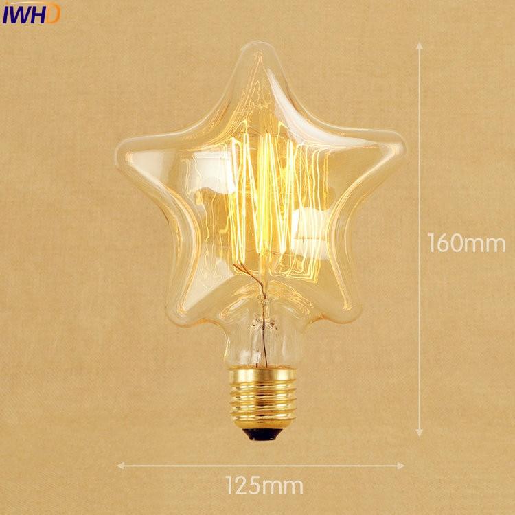 IWHD 2pcs Star Edison Lamp 40W Bombilla Vintage Light Bulb Lampada Edison Incandescent Lamp St64 A19 G95 G80 St58 T10 T185