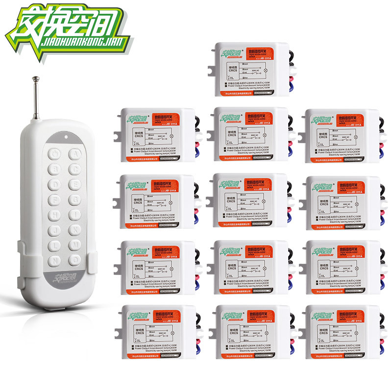 JD211A1N13 With 13 Receivers 13 Ch RF Wireless Remote Control Switch 220V 110V Remote control jd211a1n5 top rating 5 channel switch rf wireless remote control light switch five digital receivers 110v and 220v