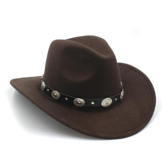 100% Lã Womem Homens Ocidental Cowboy Chapéu Com Aba Larga Do Punk Cowgirl  cinto Toca 4b1846e794e