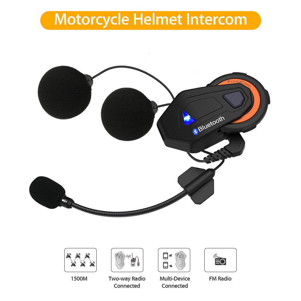 FreedConn T MAX 1500M Bluetooth IP65 5V Motorcycle Motorbike Helmet Intercom Interphone Headset FM Radio 6