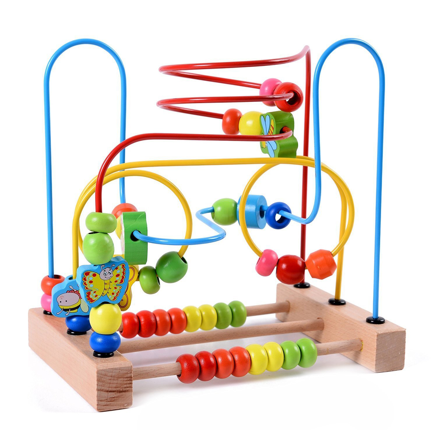 ABWE Best Sale MWZ Wooden Baby Toddler Toys Circle First Bead Maze For Boys Girls