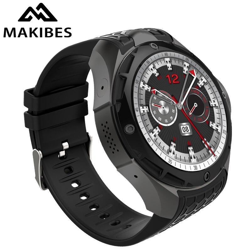 Makibes M2 indépendant 3G appel boussole horloge hommes montre intelligente téléphone IP68 Android 5.1 2 GB/16 GB GPS Nano SIM WIFI PK ALLCALL W2