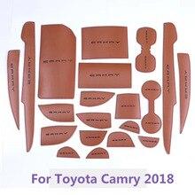 Модные 20 шт./компл. двери автомобиля groove коврик из микрофибры для Toyota Camry 2018 Нескользящие подстаканники межкомнатные двери колодки подставки