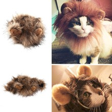 Funny Cute Pet cloth Costume Cosplay Lion Mane Wig Cap Hat for Cat Halloween Xmas Clothes Fancy Dress with Ears Autumn Winter
